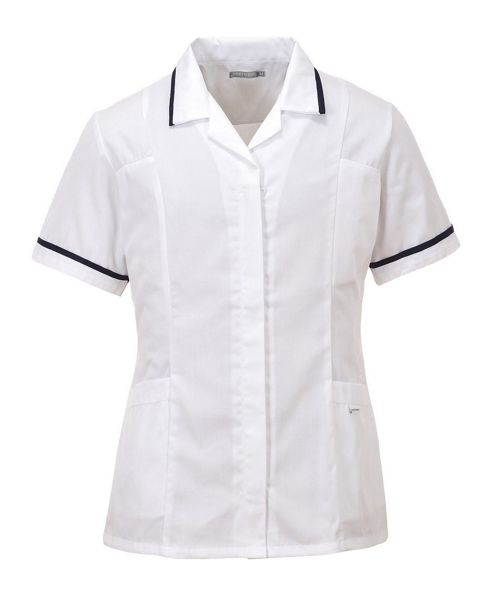 PPG Workwear Portwest Classic Healthcare Tunic LW20 White Colour with Navy Blue Trim