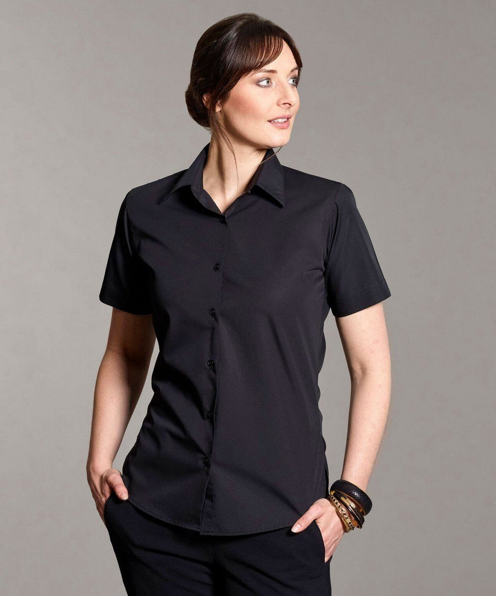 PPG Workwear Disley Womens Plain Blouse Black Colour Short Sleeve