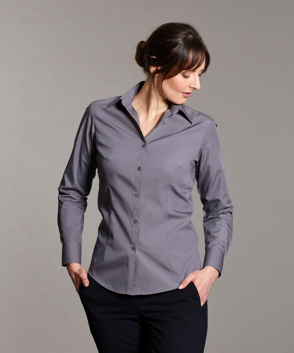 Disley Womens Plain Blouse Steel Grey Colour Long Sleeve