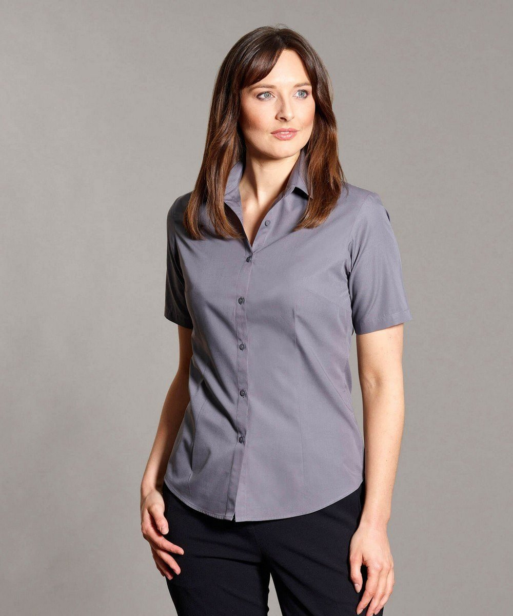 Disley Womens Plain Blouse Steel Grey Colour Short Sleeve