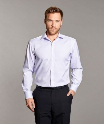 Disley Mens Tailored Fit Striped Shirt Lilac Colour Long Sleeve