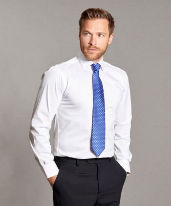 Disley Mens Stretch Tailored Fit Shirt White Colour Long Sleeve