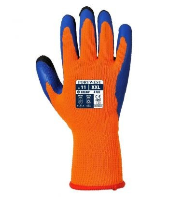 Portwest Duo-Therm Glove A185 Orange and Blue Colour Back View