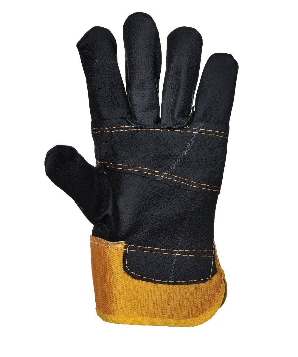 Portwest Furniture Hide Glove A200 Yellow and Black Colour Palm View