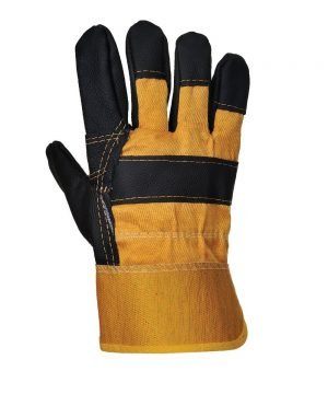 Portwest Furniture Hide Glove A200 Yellow and Black Colour Back View