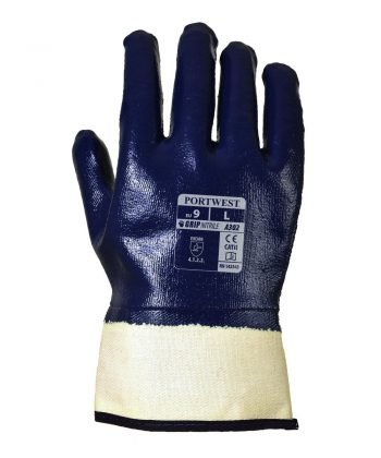 PPG Workwear Portwest Fully Dipped Nitrile Safety Cuff Glove A302 Navy Blue Colour Back View