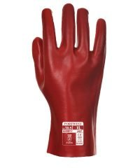Portwest PVC Coated 27cm Gauntlet A427 Red Colour Back View