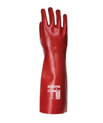 PPG Workwear Portwest PVC Coated 45cm Gauntlet A445 Red Colour Back View
