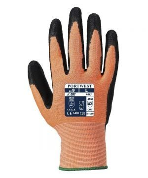 Portwest Amber Cut 3 Glove A643 Amber and Black Colour Back View