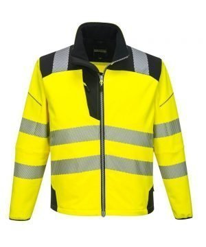 PPG Workwear Portwest PW3 Hi-Vis Softshell Jacket T402 Yellow and Black Colour