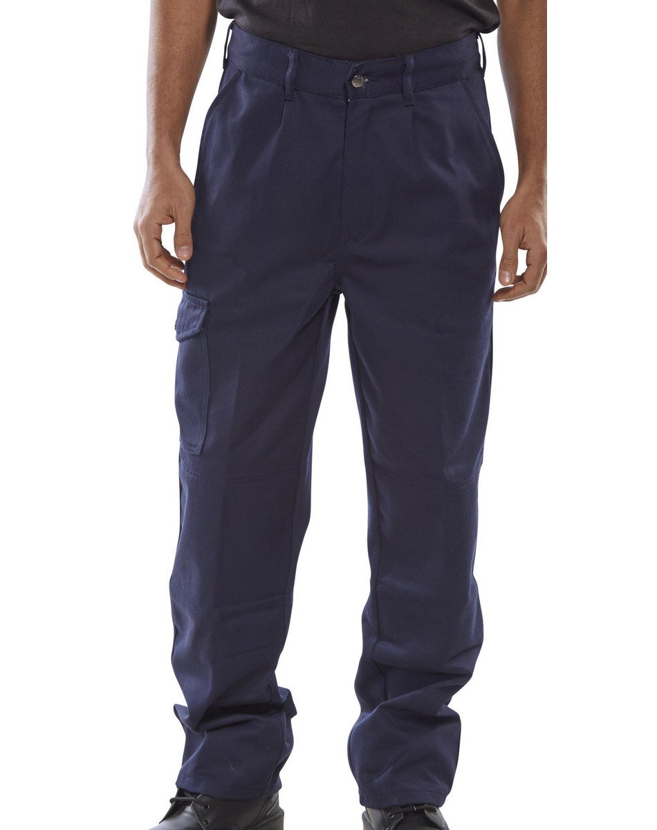 PPG Workwear Super Click Heavyweight Drivers Trousers PCT9 Navy Blue Colour