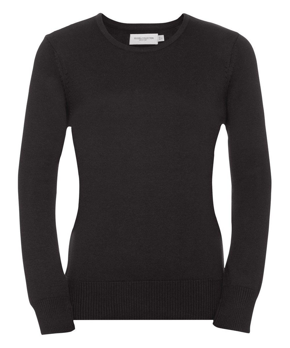 PPG Workwear Russell Collection Ladies Crew Neck Knitted Pullover 717F Black Colour