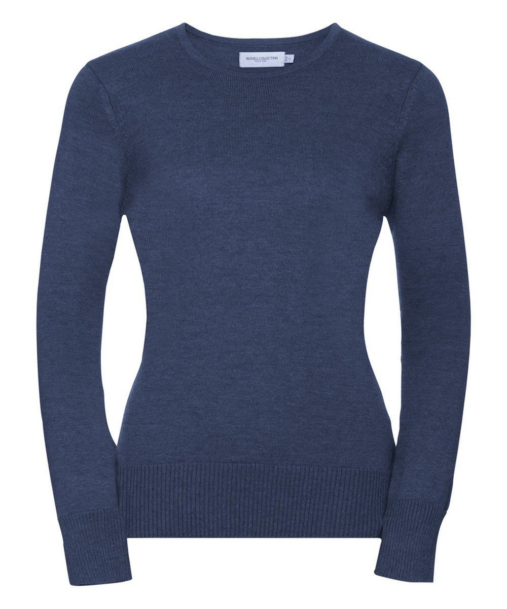 Russell Collection Ladies Crew Neck Knitted Pullover 717F Denim Marl Colour