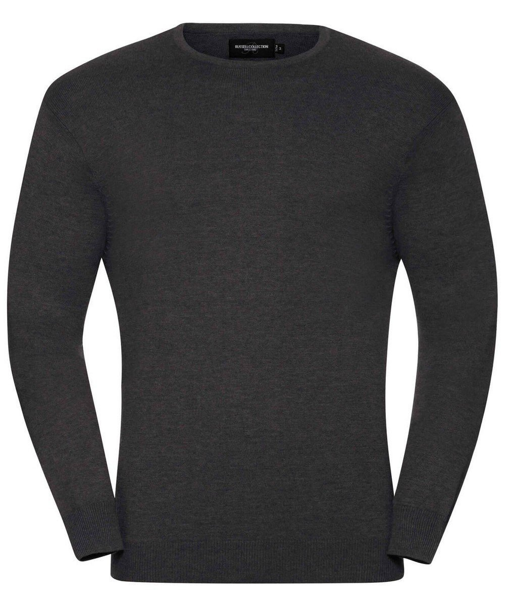 Russell Collection Mens Crew Neck Knitted Pullover 717M Charcoal Marl Colour