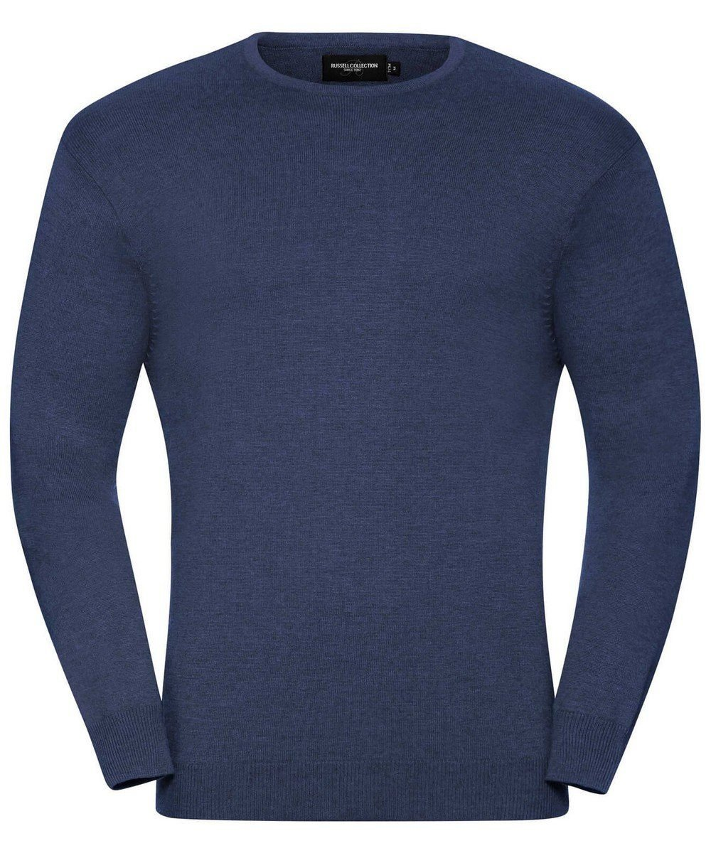 Russell Collection Mens Crew Neck Knitted Pullover 717M Denim Marl Colour