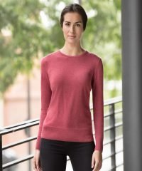 Russell Collection Ladies Crew Neck Knitted Pullover 717F Cranberry Colour
