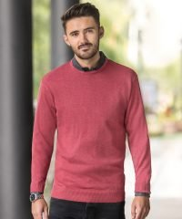 PPG Workwear Russell Collection Mens Crew Neck Knitted Pullover 717M Cranberry Marl Colour