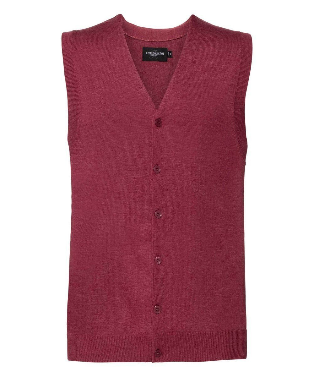 Russell Collection Men's V-Neck Sleeveless Knitted Cardigan 719M Cranberry Marl Colour