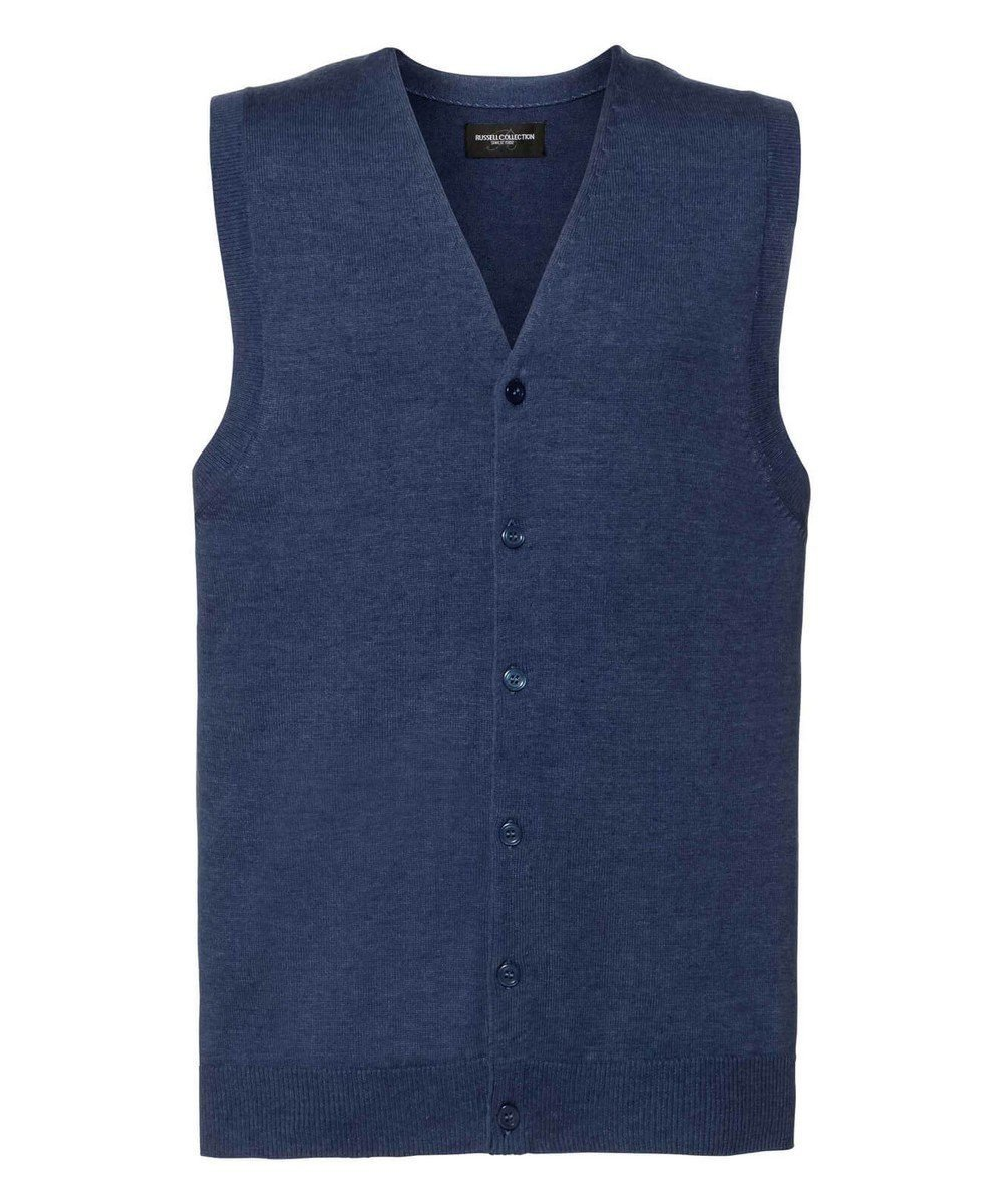 Russell Collection Men's V-Neck Sleeveless Knitted Cardigan 719M Denim Marl Colour