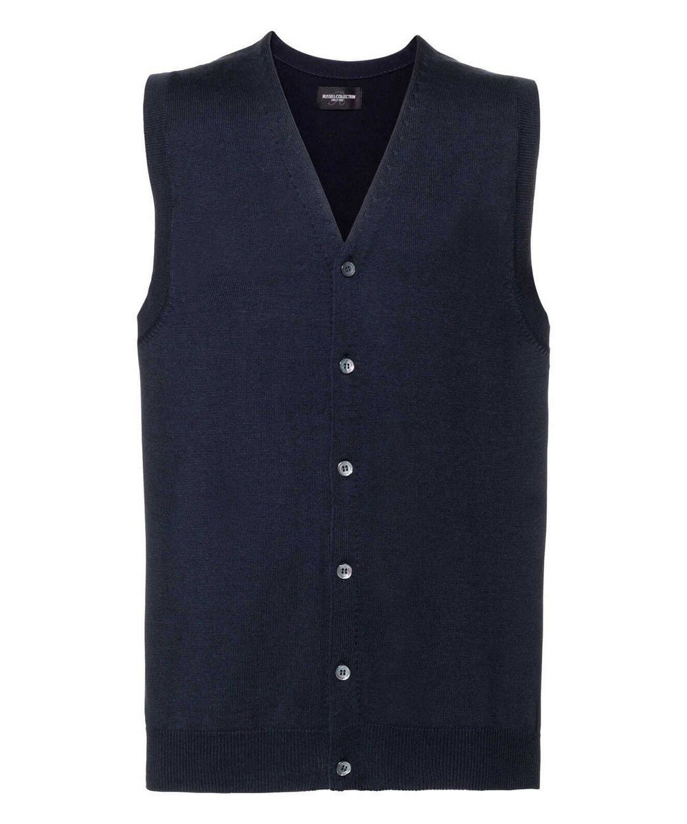 Russell Collection Men's V-Neck Sleeveless Knitted Cardigan 719M French Navy Colour
