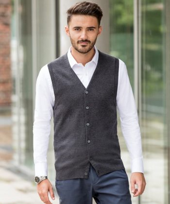 Russell Collection Men's V-Neck Sleeveless Knitted Cardigan 719M Charcoal Marl Colour