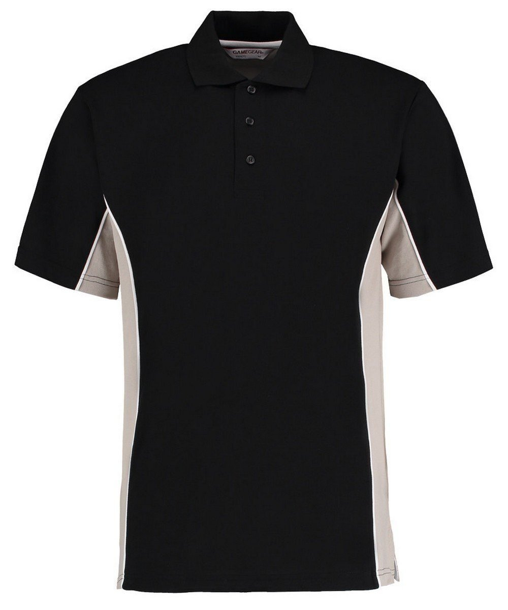 PPG Workwear Gamegear Mens Track Pique Polo KK-475 Black and Grey Colour