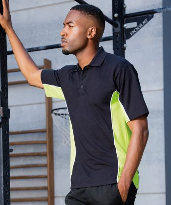PPG Workwear Gamegear Mens Track Pique Polo KK-475 Black and Lime Colour