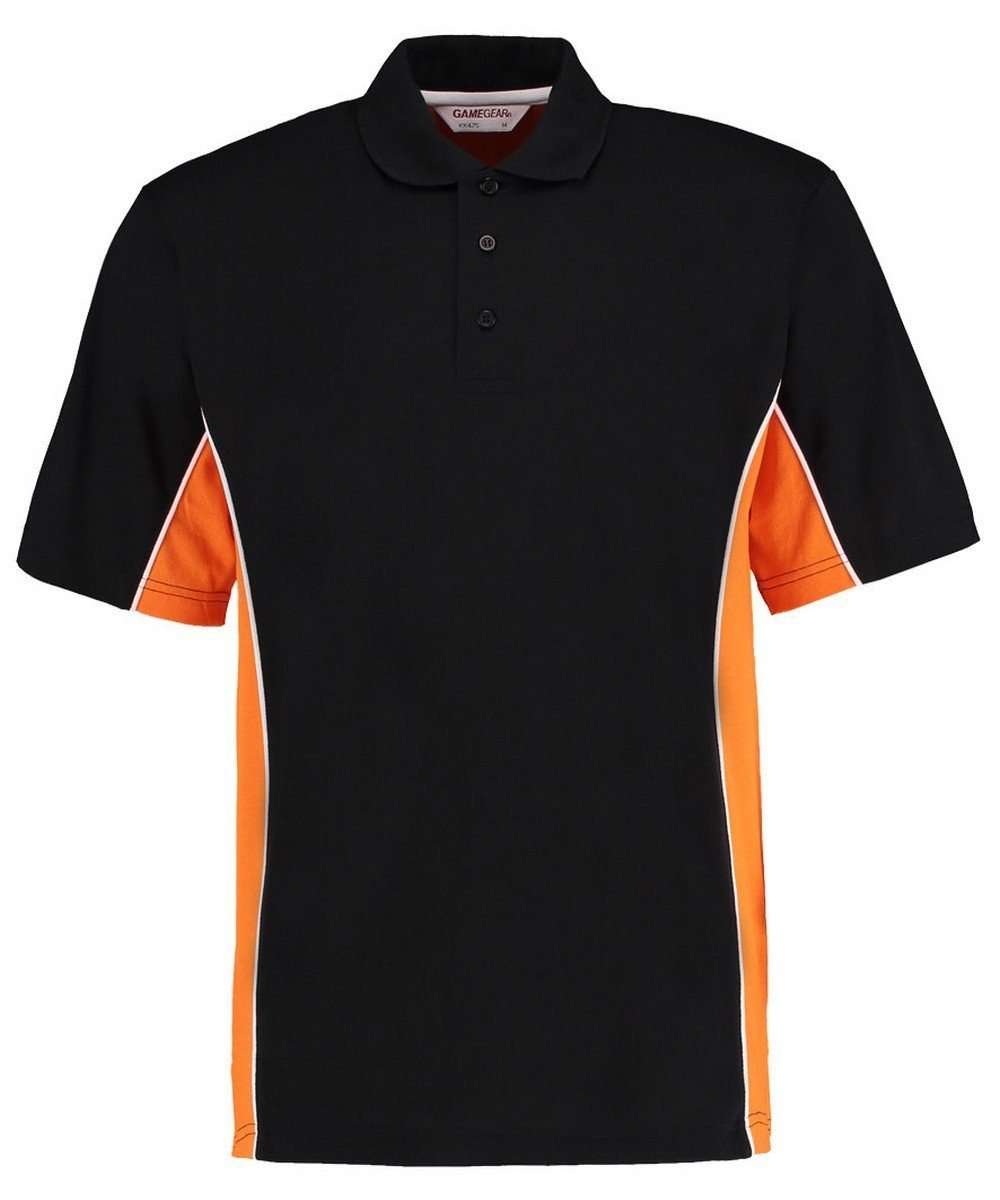 PPG Workwear Gamegear Mens Track Pique Polo KK-475 Black and Orange Colour