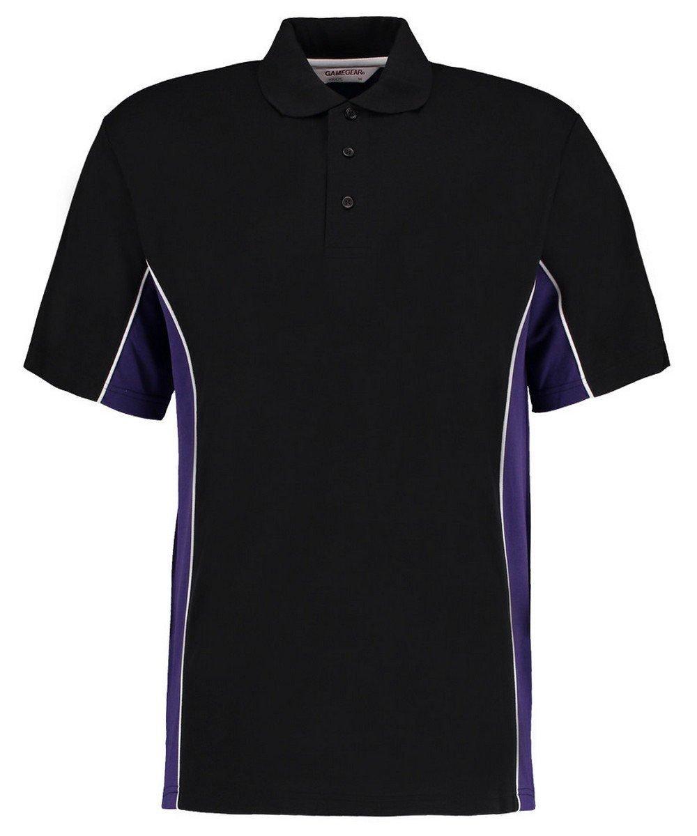 Gamegear Mens Track Pique Polo KK-475 Black and Purple Colour