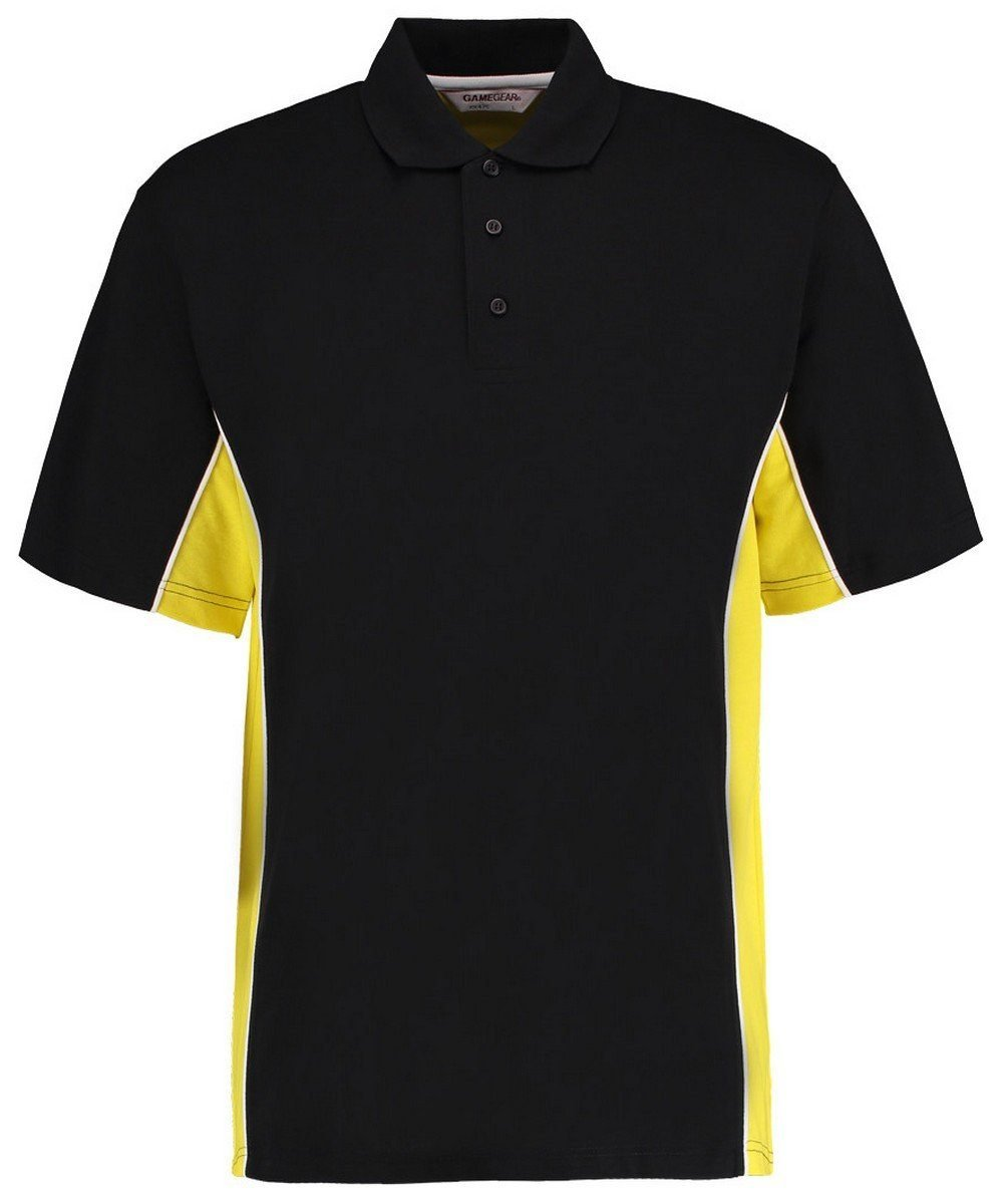 Gamegear Mens Track Pique Polo KK-475 Black and Yellow Colour