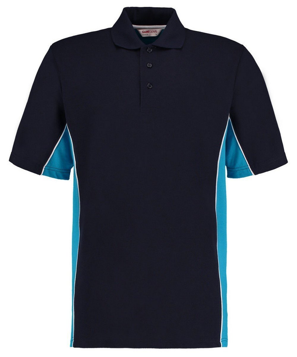 Gamegear Mens Track Pique Polo KK-475 Navy Blue and Turquoise Colour