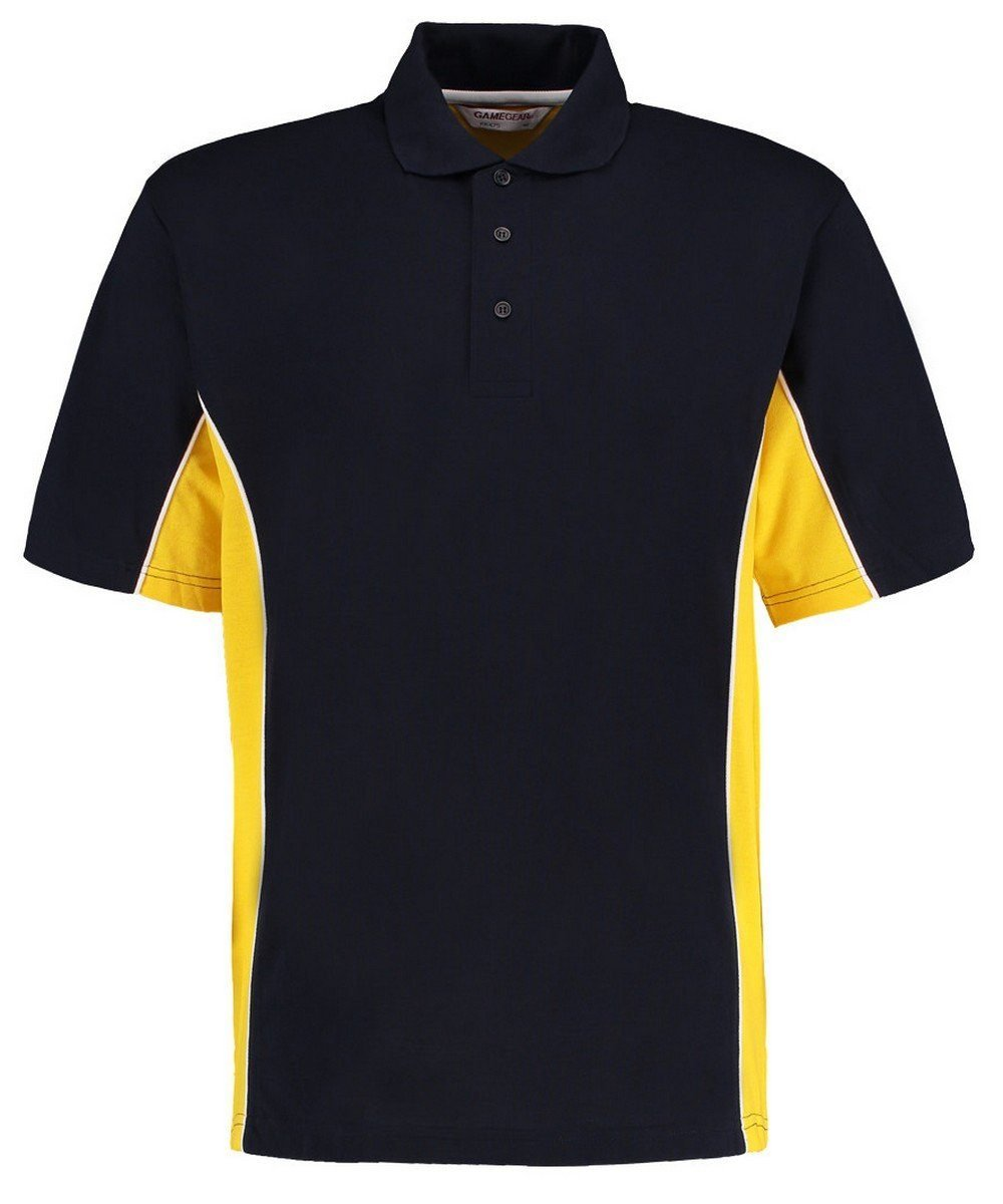 Gamegear Mens Track Pique Polo KK-475 Navy Blue and Yellow Colour