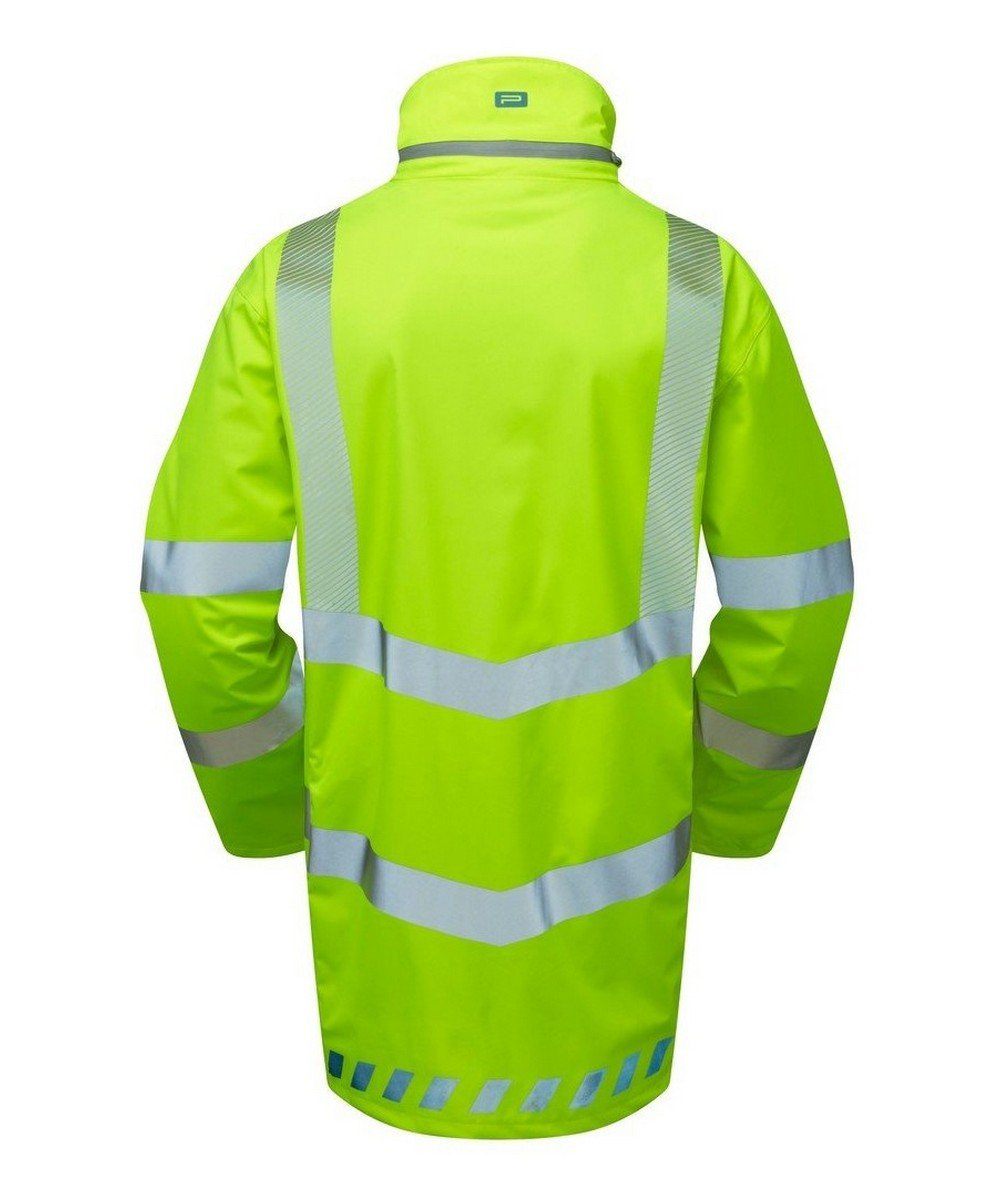 PPG Workwear Pulsar Evolution Hi Vis Storm Coat EVO100 Yellow Back View