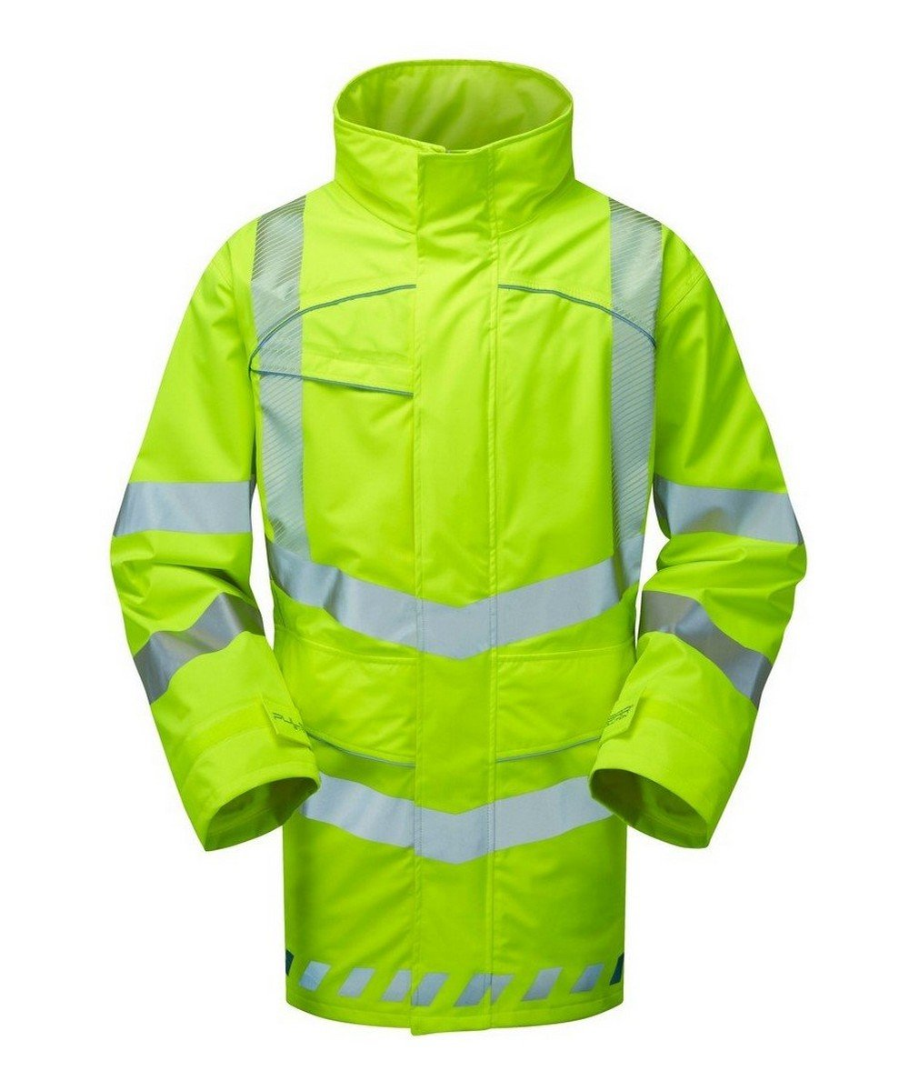 PPG Workwear Pulsar Evolution Hi Vis Storm Coat EVO100 Yellow Front View