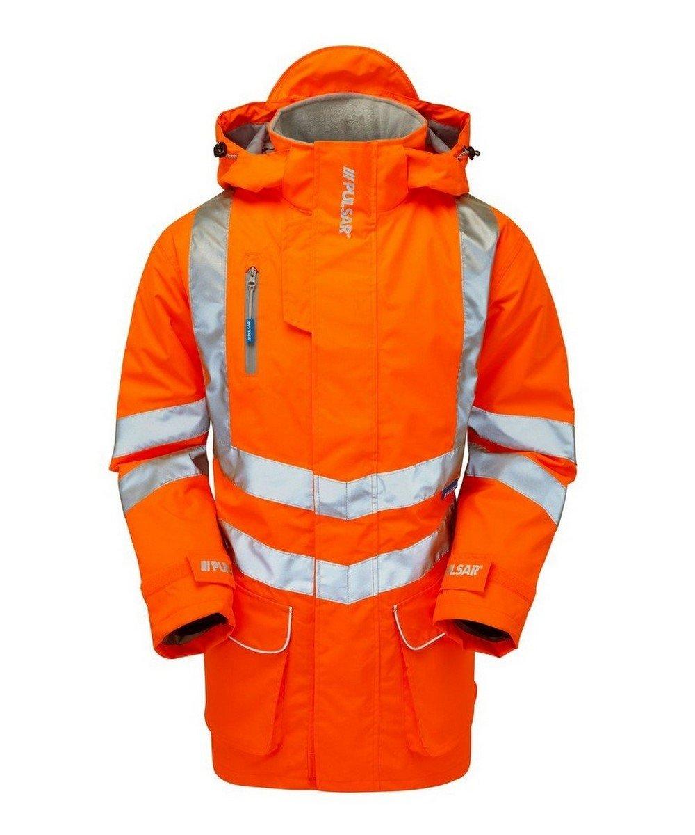 PPG Workwear Pulsar Rail Unlined Storm Coat PR499 Orange Front View