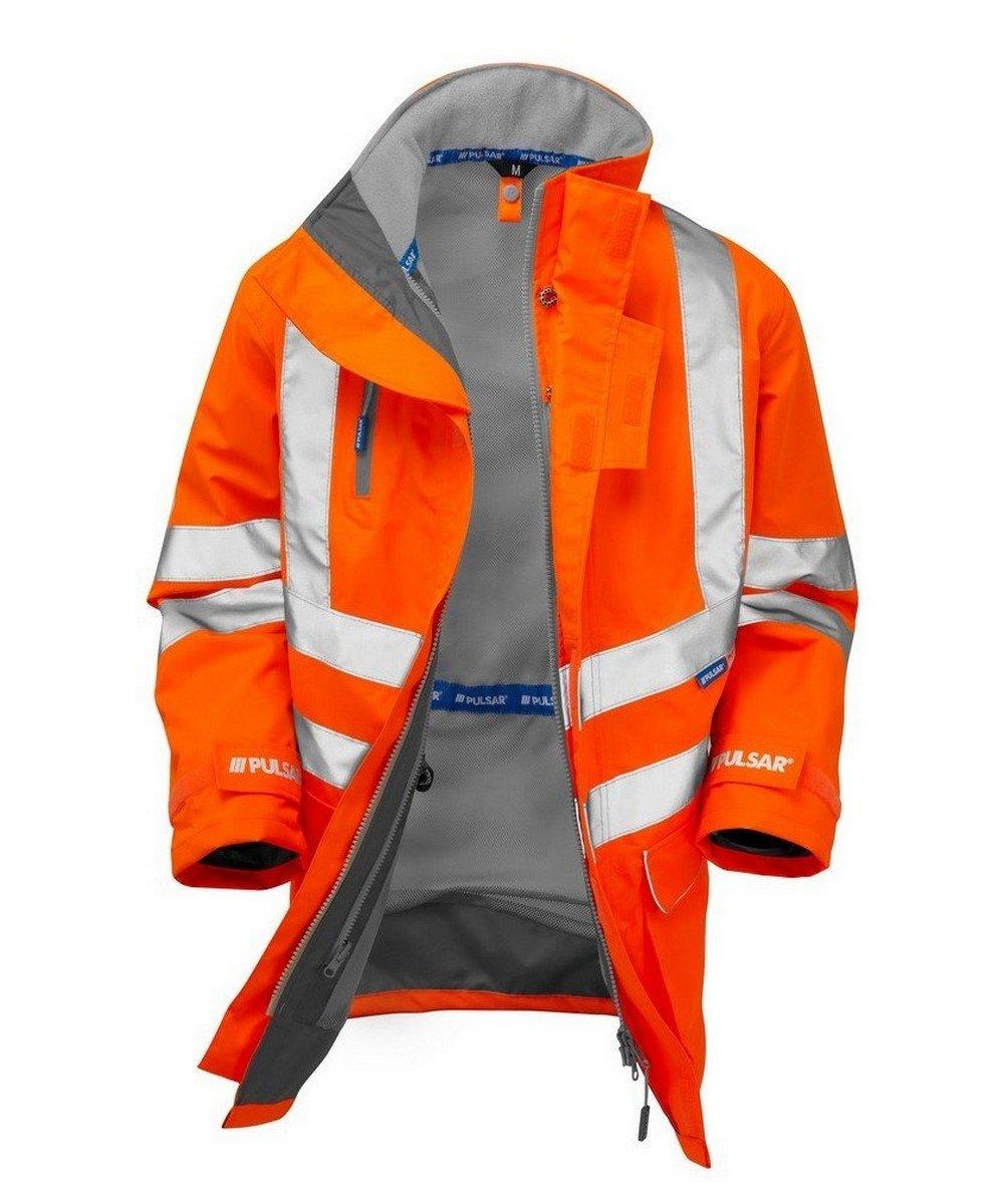PPG Workwear Pulsar Rail Unlined Storm Coat PR499 Orange Open View