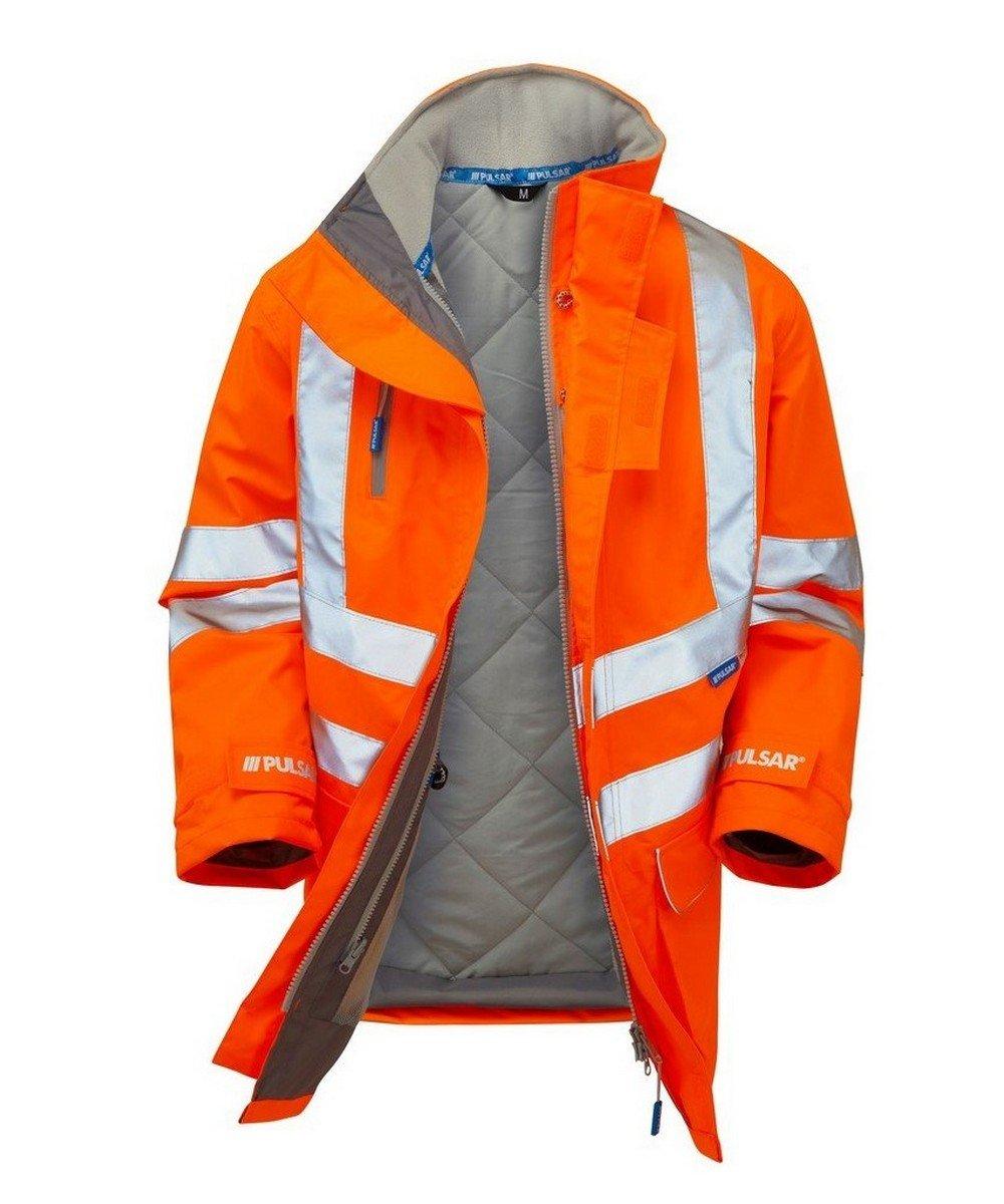 PPG Workwear Pulsar Rail Padded Storm Coat PR502 Orange Open View
