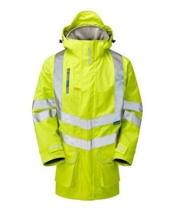 PPG Workwear Pulsar Hi Vis Unlined Storm Coat P421 Yellow Front View