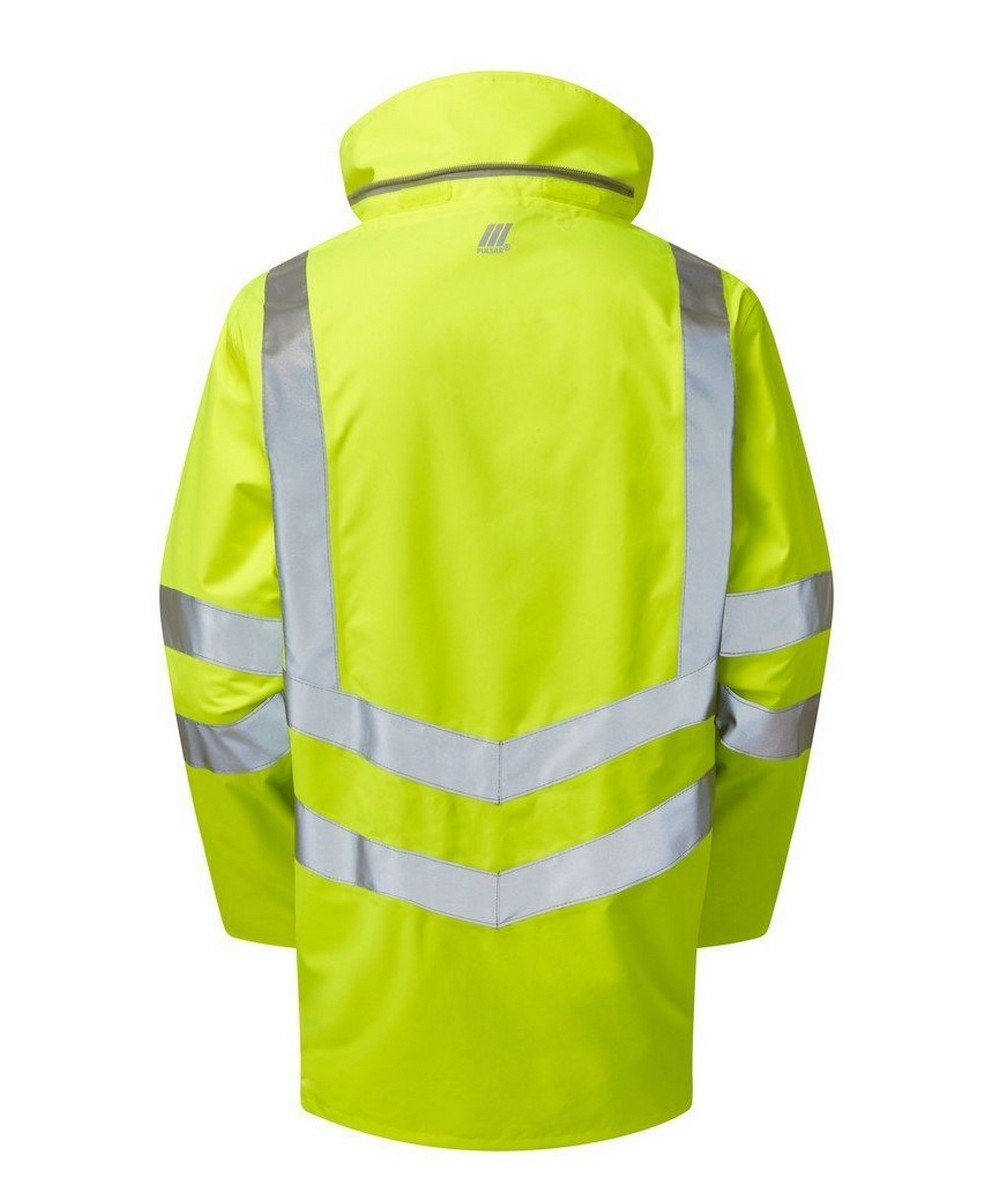 PPG Workwear Pulsar Hi Vis Unlined Storm Coat P421 Yellow Back View