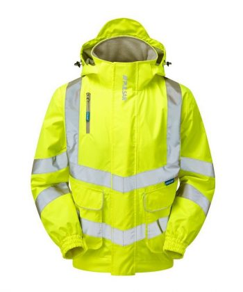 PPG Workwear Pulsar Hi Vis Unlined Bomber Jacket P533 Yellow Front View