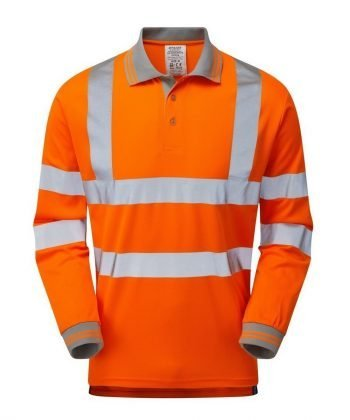 PPG Workwear Pulsar Rail Long Sleeve Polo Shirt PR470 Front View