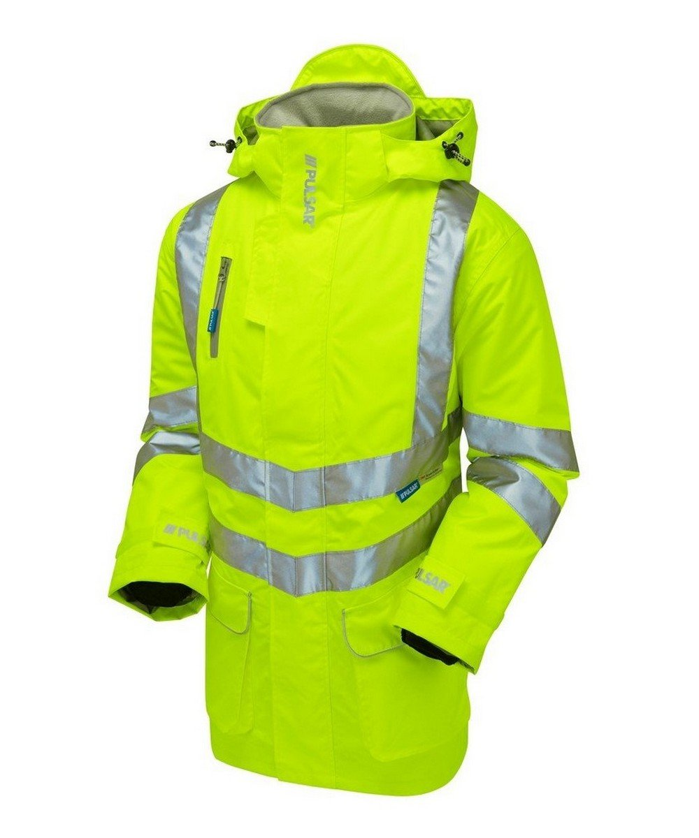 PPG Workwear Pulsar Hi Vis Padded Storm Coat P187 Yellow Front View