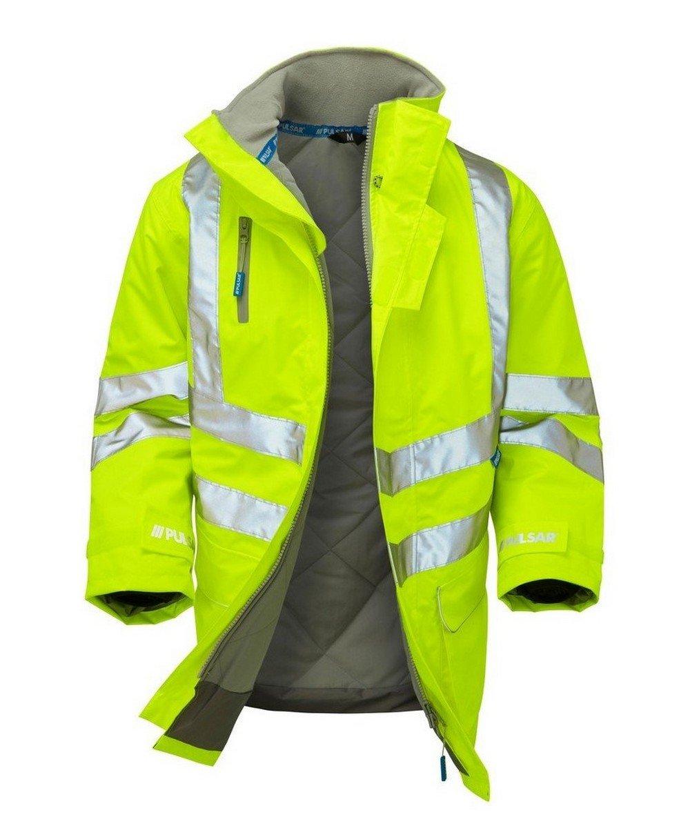 PPG Workwear Pulsar Hi Vis Padded Storm Coat P187 Yellow Open View