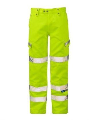 Pulsar Hi Vis Combat Trousers P346 Yellow Front View