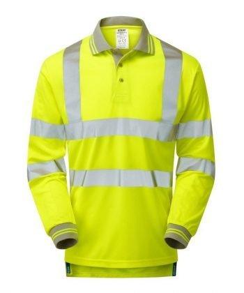 Pulsar Hi Vis Long Sleeve Polo Shirt P458 Front View